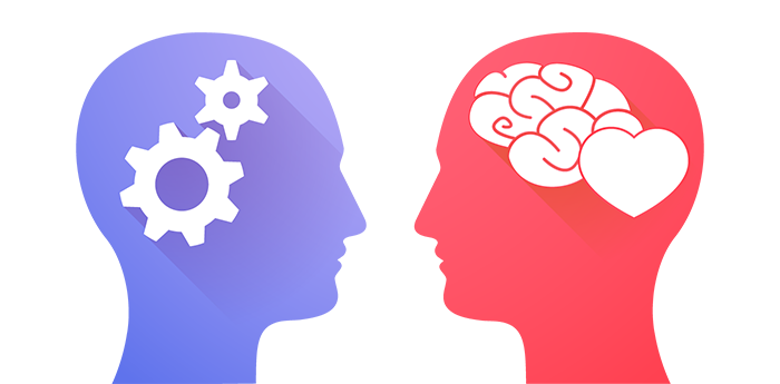 Two profiles, one with gears and the other with a heart representing both the human and the technical side of recruiting trends