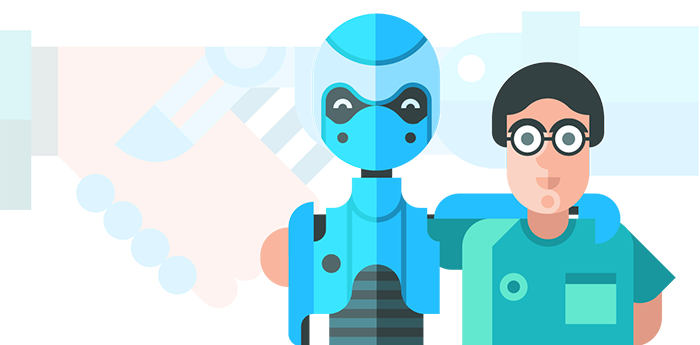 human and recruitment technology robot standing side by side