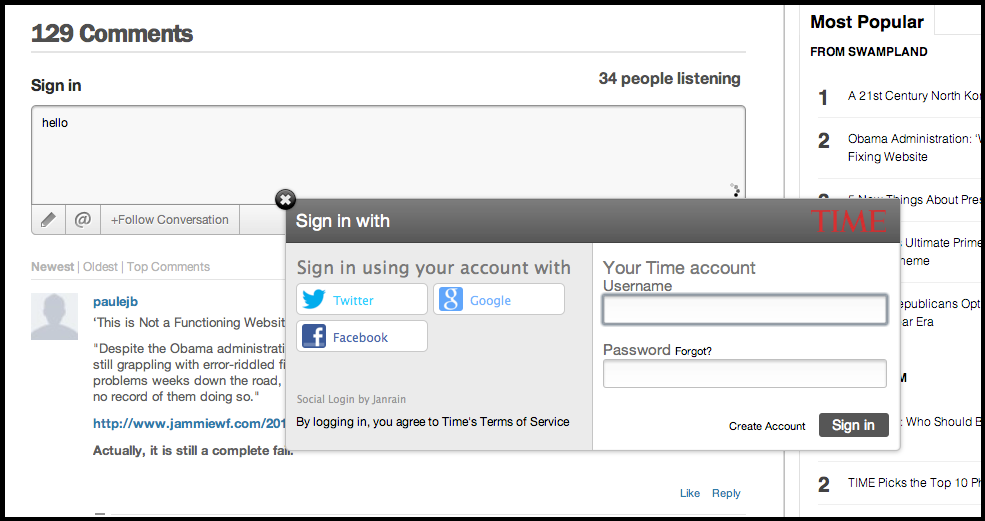 LiveFyre Logins Showing Social Media Connection